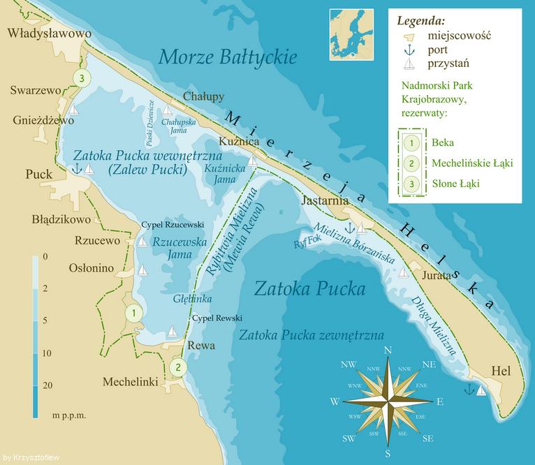 Map of the peninsula of hel